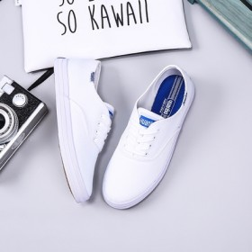 keds同款 白色帆布鞋女鞋系带 郑秀晶棒球款学院