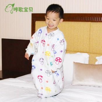 哼歌宝贝宝宝睡袋夏季薄款纱布长袖蘑菇睡袋儿童防踢被