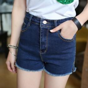 夏季高腰牛仔短裤女修身弹力
