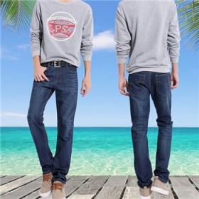 夏季高弹力牛仔裤男薄款显瘦青年直筒男生弹性长裤
