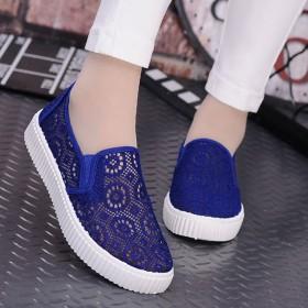 韩版品牌透气一脚蹬懒人鞋子平跟学生休闲低帮鞋网鞋女