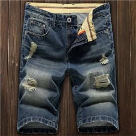 夏季薄款男士直筒破洞牛仔短裤男韩版潮流5分短裤
