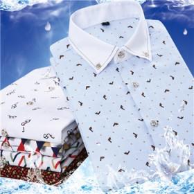 夏季男士短袖衬衫修身时尚韩版印花休闲格子清凉衬衫