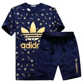 夏季品牌阿迪达斯三叶草运动休闲套装短袖T恤两件套