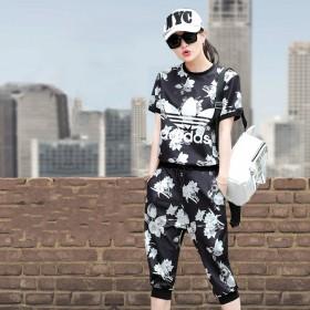 专柜品牌阿迪达斯夏季新款休闲运动T恤套装两件套