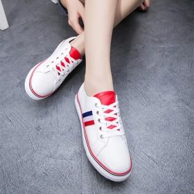 百搭休闲平底女学生系带单鞋板鞋简约圆头潮人小白鞋