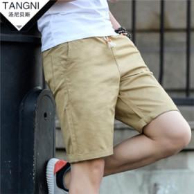 夏季纯棉男士休闲短裤夏天宽松5分五分薄款松紧腰中裤