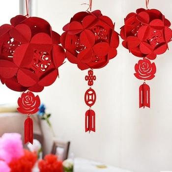 我结婚红色无纺布挂件喜字红绣球宫灯笼