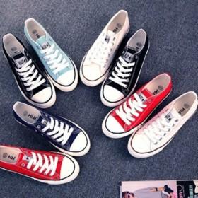 环球帆布鞋女 夏季学生糖果色小白鞋男平跟低帮韩版情