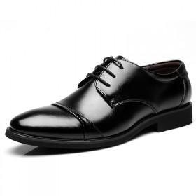 男士商务皮鞋英伦休闲鞋青年低帮鞋正装尖头黑色系带鞋