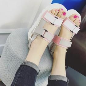 夏季新款日系甜美厚底露趾女生凉鞋增高松糕底坡跟
