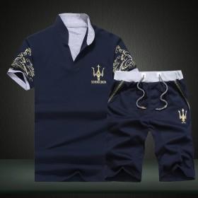 大码学生立领短袖薄款t恤男运动休闲套装修身男短裤