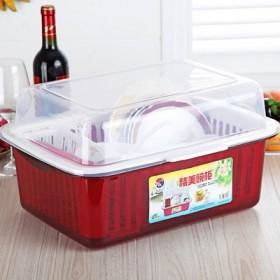 塑料带盖碗柜碗筷碗碟沥水架厨房餐具收纳晾放架