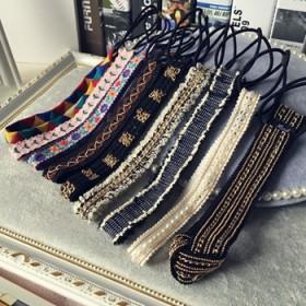 韩国原版碎花民族风刺绣复古甜美发箍铆钉链条弹力纯手