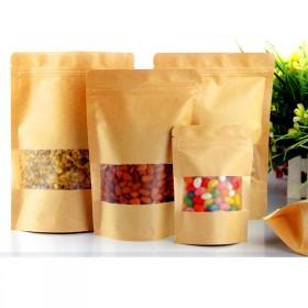 磨砂方窗牛皮纸袋食品茶叶自立密封塑料袋礼品袋干果瓜