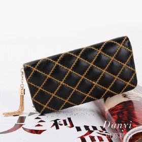 羊皮刺绣菱格钱夹欧美品牌女士真皮拉链大容量钱包