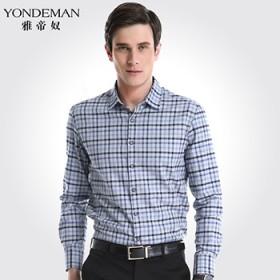 雅帝奴中年男士长袖衬衫商务韩版修身纯棉磨毛格子衬衣