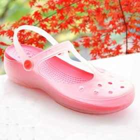 夏季变色玛丽珍洞洞鞋女士包头凉鞋果冻鞋厚底镂空坡跟