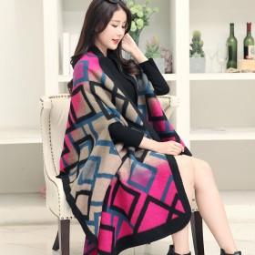 韩版仿羊绒羊毛围巾女秋冬季斗篷披肩外套披风