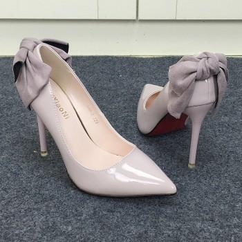 韩版蝴蝶结浅口尖头单鞋漆皮细跟高跟鞋女鞋凉鞋女 704759