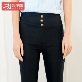 高腰时尚外穿薄款打底裤春秋款紧身九分女裤黑色大码高