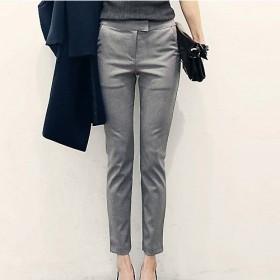 韩版通勤裤九分裤西裤西装裤女裤子直筒裤职业小脚裤