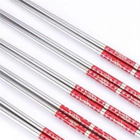【5双印花装X2套】304不锈钢筷子防滑防烫