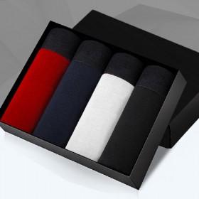 【街印】4条装男士纯棉纯色平角内裤青年四角裤
