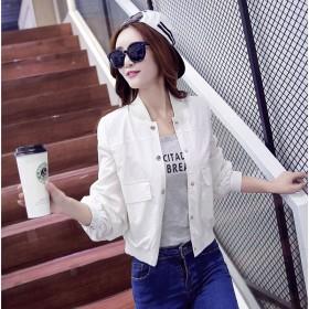 白色短外套女春秋2016新款百搭短款小夹克衫
