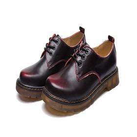 马丁鞋女英伦学院风真皮圆头系带鞋百搭平底低帮鞋情侣