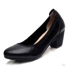 真皮舒适女鞋半高跟单鞋工作鞋时尚春秋单鞋女