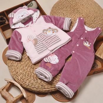 偶园宝宝棉衣套装水晶绒加厚长袖棉衣两件套婴儿棉服