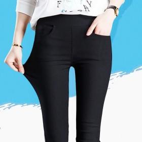 夏秋季长款显瘦外穿打底裤女士九分裤高腰弹力裤黑色小