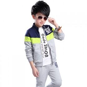 春秋新款休闲时尚男童帅气三件套 中大童运动套装