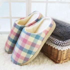 秋冬季情侣棉拖鞋男女居家居室内保暖防滑半包跟地板月