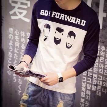 【包邮】 印花长袖t恤男士大码青少年胖子打底衫男生韩版上衣服