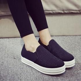 帆布鞋女低帮鞋韩版学生平底松糕鞋休闲懒人鞋厚底鞋