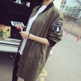韩国中长款棒球服飞行员夹克女学生宽松春装外套女潮