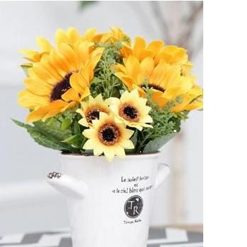 【包邮】 欧式向日葵花艺套装花束 太阳假花花盆 家居仿真花