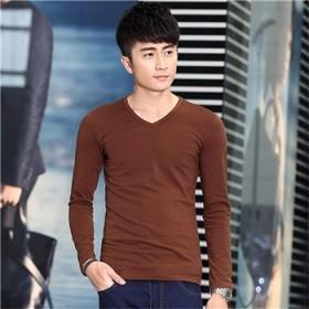 秋冬季新款时尚长袖 T恤男v领常规款纯色宽松打底衫