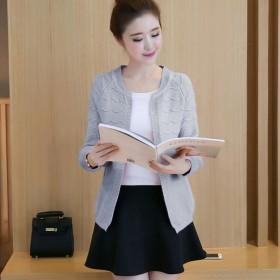 2016秋季新款女装韩版百搭毛衣针织开款衫短外套薄