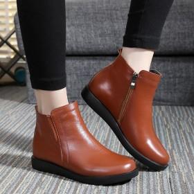 秋冬季真皮防滑保暖妈妈棉鞋短靴子