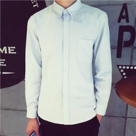 秋季长袖衬衫男士衬衣青年修身韩版纯色正装衬衫