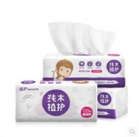 婴儿抽纸专用宝宝抽纸巾3包无香原木软抽120抽/包