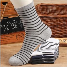 秋款全棉条纹男袜中筒袜子