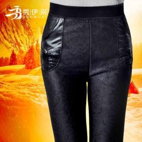 秋冬加绒加厚黑色打底裤女外穿 高腰中老年女裤长裤