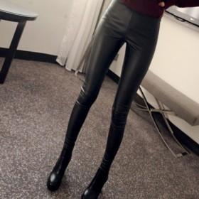 女士紧身小脚薄款皮裤