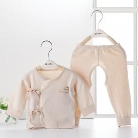 新生儿纯棉内衣春秋打底衣服婴儿和尚服套装系带开裆裤