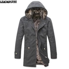 羊绒大衣款中长男韩版修身加厚连帽毛呢大衣外套