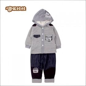 圣奇乐娃娃男童夹绒套装 男童纯棉套装 中小童秋冬装